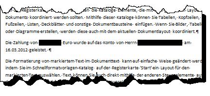geschwärzten text sichtbar machen